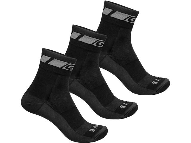GripGrab Merino Regular Cut Socks 3 Pack Black
